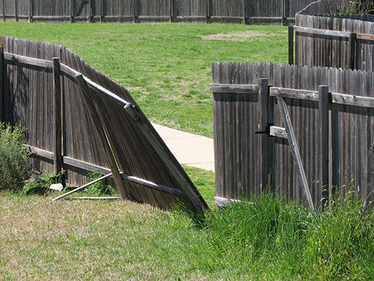 We repair broken fences including broken posts and gates.