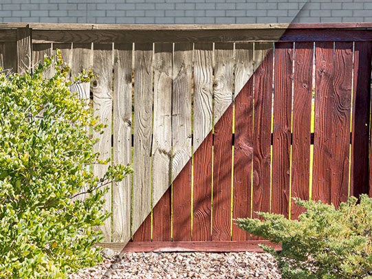 Before and After Fence Staining. Have us restain your fence to look new again!